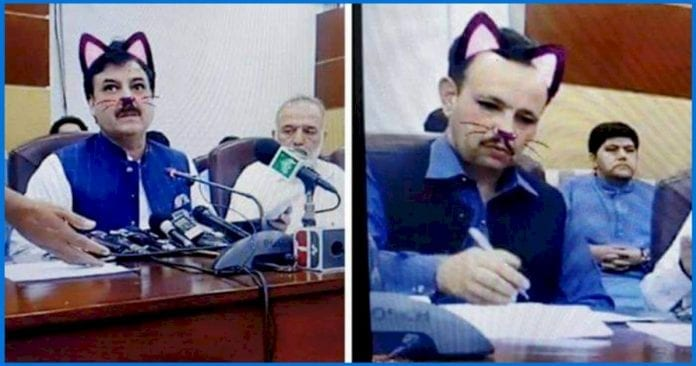 pakistani-government-official-streamed-an-entire-press-conference-via-facebook-live-with-cat-filters-turned-on!